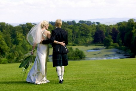Scottish wedding venue Mellerstain House - romantic lake view