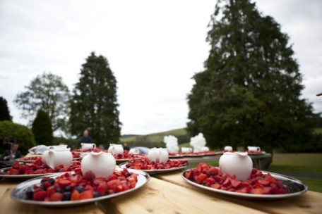 Hoscote tipi wedding, strawberries and cream