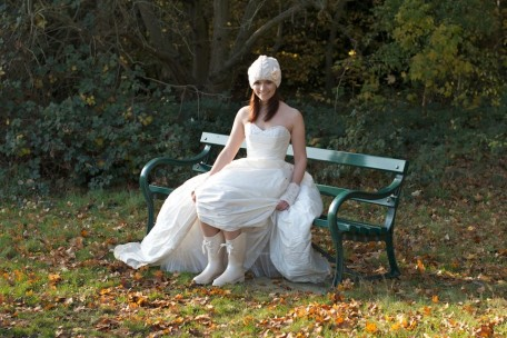 Winter Wedding Bride looking bootilicious!