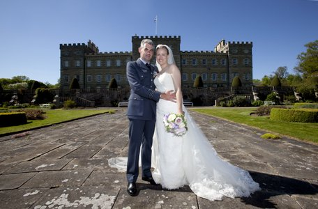 Bride and groom at Mellerstain House in the Scottish Borders