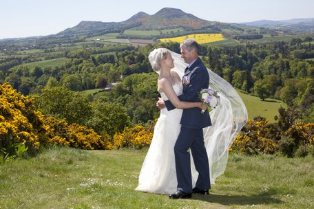Bride and groom at Scott's View in the Scottish Borders