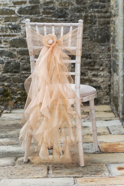 golden tones chiffon ruffle wedding chair decor